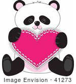 #41273 Clip Art Graphic of a Cute Panda Sitting With A Heart Valentine by Maria Bell