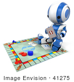 #41275 Clip Art Graphic of a 3d Blue AO-Maru Robot Reading A Card On Top Of A Board Game by Jester Arts