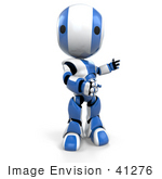 #41276 Clip Art Graphic of a 3d Blue AO-Maru Robot Facing The Viewer And Turning His Body To The Right by Jester Arts