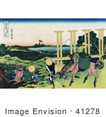 #41278 Stock Illustration Of Two People Fishing At A Weir In Senju Musa And One Person And Horse Transporting Rice Seedlings Rice Paddies And Mount Fuji In The Distance