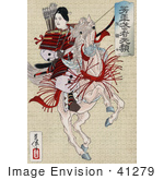 #41279 Stock Illustration of a Female Japanese Warrior, Han Gaku, Armed With Arrows, On The Back Of A Rearing Horse by JVPD