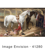 #41280 Stock Illustration Of A Dog Watching A Jockey Kneeling And Praying For A Successful Race In A Horse Stable