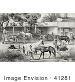 #41281 Stock Illustration Of People Gathering Water For Their Hoses While Stopping In A Village
