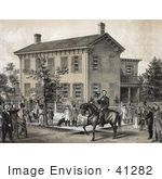 #41282 Stock Illustration Of Villagers Greeting Abraham Lincoln On Horseback In Front Of His House In Springfield Illinois