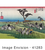 #41283 Stock Illustration Of Travelers Resting Under A Pine Tree Surrounded By Grazing Horses In A Meadow Near The Chiryu Station On The Tokaido Road