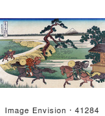 #41284 Stock Illustration Of Three People On Horseback Galloping Along The Sumida River With Mount Fuji In The Distance