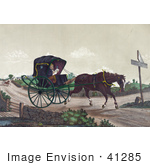 #41285 Stock Illustration of An Exhausted Horse Pulling Deacon Jones In A Carriage, While A Man In A Horsedrawn Sulky Quickly Gains On Them In The Background by JVPD