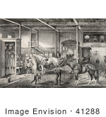 #41288 Stock Illustration Of A Child And Men Tending To Race Horses In A Stable