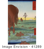 #41289 Stock Illustration Of Two Horses Grazing In A Landscape With A Stream In Kogane Fields In Shimosa Province Mt Fuji In The Distance