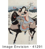 #41291 Stock Illustration of Bando Mitsugoro, A Japanese Actor, Riding A Black Horse While Playing The Role Of Satsumanokami Tadanori by JVPD