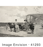 #41293 Stock Illustration Of Two Beautiful Women By A Carriage On A Beach