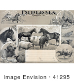 #41295 Stock Illustration Of An Agricultural Diploma With Jockeys Racing Horses Livestock Produce And Farming Tools