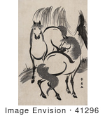 #41296 Stock Illustration Of A Scan Of A Japense Woodcut Of Two Horses Near A Willow Tree