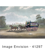 #41297 Stock Illustration Of A Dog Running Alongside Men On The Unicorn Norwich Coach
