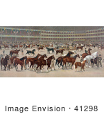 #41298 Stock Illustration Of A Parade Of Beautiful Horses At A National Horse Show