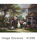 #41299 Stock Illustration Of Horses Pigs And A Dog With People And A Cart In Front Of A Tavern