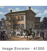 #41300 Stock Illustration Of Abraham Lincoln On Horseback In Front Of His Home Being Greeting By Villages Upon The Return Of His Successful Campaign For The Presidency