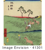 #41301 Stock Illustration Of Men And Horses Working In The Fields At The At The Chiryu Station On The Tokaido Road