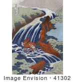 #41302 Stock Illustration Of Men Washing A Horse In The Stream At The Yoshitsune Umarai Waterfall At Yoshino In Washu