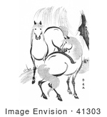 #41303 Stock Illustration Of A Pair Of Horses By A Willow Tree Black And White