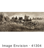 #41304 Stock Illustration of Soldiers And Horses Fighting In The Battle Of Chancellorsville, Virginia On May 3rd 1863 by JVPD