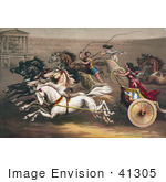 #41305 Stock Illustration Of A Man And Two Women Racing Chariots