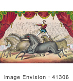 #41306 Stock Illustration Of An Audience Watching A Man Standing On The Back Of Two Horses Controlling Them With The Reins
