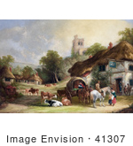 #41307 Stock Illustration of Cattle, Horses, People And Carriages At The Swan Inn Of A Village, With A Castle In The Background by JVPD