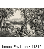 #41312 Stock Illustration Of Four Male Campers Sitting Around A Fire With Their Horses In The Background