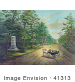 #41313 Stock Illustration Of A Group Of Five Men In A Carriage Visiting The Stonewall Jackson Monument