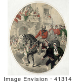 #41314 Stock Illustration Of A Crowd Watching Giuseppe Garibaldi On Horseback In Naples Italy