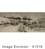 #41316 Stock Illustration Of A Man On A Horse Drawn Wagon Traveling Through A Village In The Snow