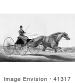 #41317 Stock Illustration Of A Man Robert Bonner In A Cart Being Pulled By A Running Horse