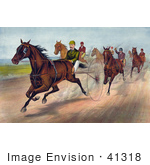 #41318 Stock Illustration Of A Group Of Men Racing Horses With Dust Rising On The Track