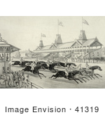 #41319 Stock Illustration Of Spectators Watching A Horse Race In Progress Perhaps At Monmouth Park Long Branch New Jersey