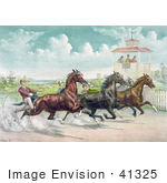#41325 Stock Illustration Of Judges In A Tower Watching A Close Race Between Four Horse Harness Racing Jockeys