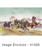 #41326 Stock Illustration Of A Man Woman And Senior Man Racing Horses Down A Street In Winter