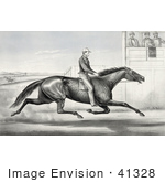 #41328 Stock Illustration of a Man Riding A Horse, Billy Boyce, Racing Past Judges In Buffalo, New York, August 1st 1868 by JVPD