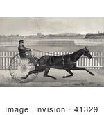 #41329 Stock Illustration Of A Man Racing The Famous Roan Horse Captain Mcgowan In His 20th Mile
