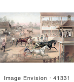 #41331 Stock Illustration Of An Audience And Judges Watching A Horse Race