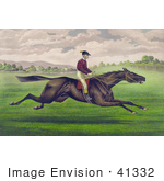 #41332 Stock Illustration Of A Jockey Riding On The Back Of A Brown Gelding Leaping Across A Grassy Field
