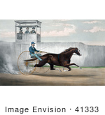 #41333 Stock Illustration of Dan Mace Racing And Driving Trotting Horse Judge Fullerton by JVPD