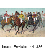 #41336 Stock Illustration Of A Group Of Seven Jockeys On Horseback Ready For A Race