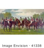 #41338 Stock Illustration Of A Group Of Jockeys On Their Horses