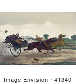 #41340 Stock Illustration Of Two Competitive Men Racing Their Horses Down A Street With A Dog Running Along The Side