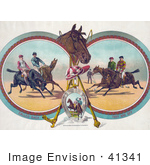 #41341 Stock Illustration Of Four Racing Jockeys On Horseback In Three Different Scenes