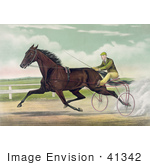 #41342 Stock Illustration Of A Man Racing A Horse On A Two Wheel Sulky