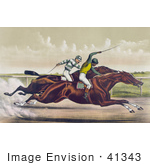 #41343 Stock Illustration Of A Horse Race Between Salvator And Tenny At Sheepshead Bay New York June 25th 1890
