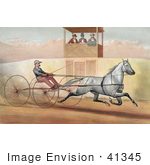 #41345 Stock Illustration Of A Panel Of Three Judges In A Tower Watching A Man Racing A Horse
