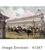 #41347 Stock Illustration Of A Group Of Anxious Jockeys Rushing Away From The Start Line At Jerome Park New York